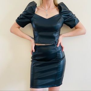 New Faux leather mini skirt & puff sleeve top set